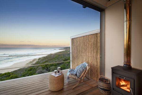 Lekkerwater Beach Lodge - Bedroom veranda and fire